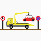 Evacuator tow away car. On road with traffic signs. Vector illustration. Pixel art Royalty Free Stock Image