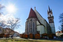 Evagelical kościół od Bistrita miasta, Transylvania, Rumunia Zdjęcia Royalty Free