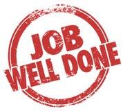 Evaluación del rendimiento de la tarea de Job Well Done Stamp Words Fotografía de archivo libre de regalías
