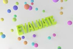 Evaluate, business conceptual colorful 3D rendered words. Illustration, positive, title & typography. Evaluate, business conceptual colorful 3D rendered words vector illustration