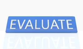 Evaluate. 3d render blue box with text Evaluate on it on white background with reflection Royalty Free Stock Image