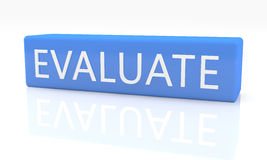 Evaluate. 3d render blue box with text Evaluate on it on white background with reflection stock images
