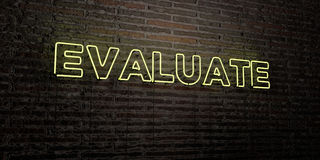 EVALUATE -Realistic Neon Sign on Brick Wall background - 3D rendered royalty free stock image Stock Photo