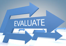 Evaluate. Render concept with blue arrows on a bluegrey background Royalty Free Stock Image