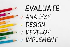 Evaluate written on white background concept. Evaluate written on a white background and colour pencils. Business Evaluation Concept. Top view Stock Images