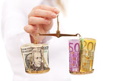 Evaluating currency rate risks stock images