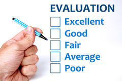 Evaluation. Making decisions about scoring an evaluation Stock Images