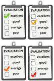 Evaluation. Clipboard with evaluation sheet and different results Royalty Free Stock Photo