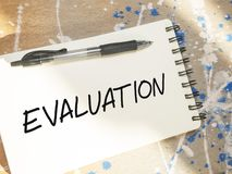 Evaluation, business audit monitoring review quotes, words typography lettering. Concept stock images