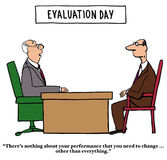 Evaluation Day. Business cartoon about performance reviews.  The boss tells the employee he has to change everything about his job performance Royalty Free Stock Photos