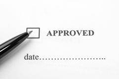 Evaluation form with approved and reject checked Royalty Free Stock Photography
