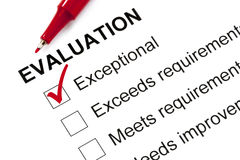 Evaluation Form Marked Exceptional stock photos