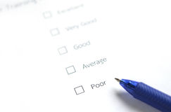 Evaluation form - poor. Questionnaire customer survey  or  Evaluation form - poor Stock Image