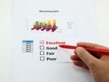 Evaluation of marketing skill is excellent Stock Photo