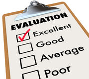 Evaluation Report Card Clipboard Assessment Grades. An evaluation report card on an easel with a checkmark next to the word Excellent along with other choices Royalty Free Stock Photography