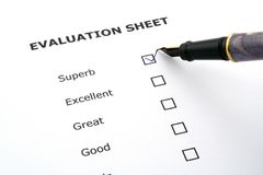 Evaluation sheet stock photos