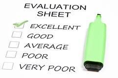 Evaluation sheet Royalty Free Stock Image