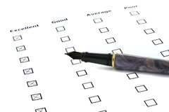 Evaluation sheet stock images