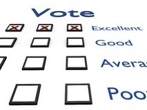 Evaluation sheet. Vote. High resolution 3D render Royalty Free Stock Photo
