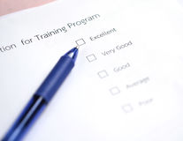 Evaluation training program survey Royalty Free Stock Photo