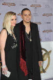Evan Ross & Ashlee Simpson. LOS ANGELES, CA - NOVEMBER 17, 2014: Evan Ross (son of Diana Ross) & wife Ashlee Simpson at the Los Angeles premiere of his movie Stock Image