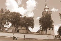 Evangelic kyrka i saxonstaden Rupea, Transylvania, Rumänien Royaltyfri Fotografi
