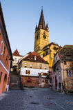 Evangelical Cathedral in Sibiu, Romania. Gothic Evangelical Cathedral of Sibiu, built in the XIVth century. Tower is 73 m height, tallest in Transylvania Royalty Free Stock Photos