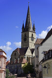 Evangelical Cathedral Sibiu Romania tower with blue sky Royalty Free Stock Image