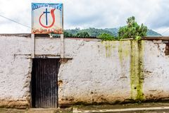 Evangelical Church of God in Guatemalan village stock photos