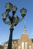 Evangelical Church and lamppost, city Goch Stock Photos