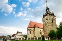 The evangelical church of Saschiz village, Romania. Saschiz fortified evangelical church in Transylvania, Romania Royalty Free Stock Photos