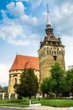 The evangelical church of Saschiz village, Romania. Saschiz fortified evangelical church in Transylvania, Romania Stock Photos