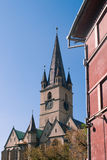 Evangelical Church in Sibiu. Image showing the Evanghelical Church and its famous tower Stock Photos