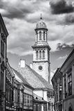 Evangelical church, Sopron, Hungary, colorless. Evangelical church, Sopron, Hungary. Religious architecture. Travel destination. Black and white photo stock image