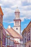 Evangelical church, Sopron, Hungary. Religious architecture. Travel destination. Purple photo filter stock photo