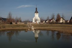 Evangelical church in the village of Neu Horno, Germany. Royalty Free Stock Photos