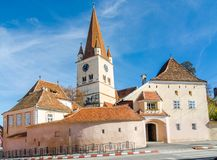 Evangelical Fortified Church in Cisnadie, Romania. Fortified Evangelical Church Cisnadie, was built in 1349 in honor of Saint Walpurga. Sibiu, Transylvania stock photos