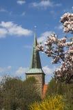 Evangelikal kyrka för St Laurentius i Schledehausen, Osnabrueck land, lägre Sachsen, Tyskland (protestantkyrkan) Fotografering för Bildbyråer