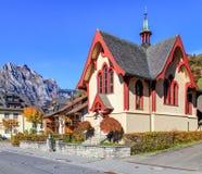 Evangelikal kyrka i Engelberg, Schweiz Fotografering för Bildbyråer