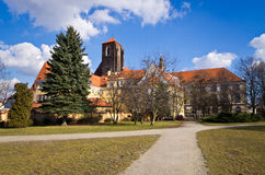 Evangelikal kyrka på den Piasek ön i Wroclaw, Polen Royaltyfri Foto