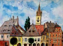 Evangelikalt kyrkligt torn från Sibiu Transylvania Arkivfoton