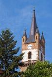 Evangelikalt kyrkligt torn i Bistrita fotografering för bildbyråer