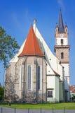 Evangelikalt kyrkligt torn i Bistrita arkivbild