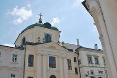 Evangelikalt a V kyrka - Banska Stiavnica royaltyfri foto
