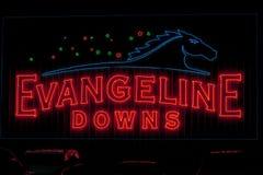 Evangeline Downs Race Track Neon-Zeichen stockbild