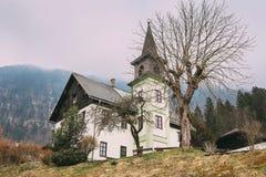 Evangelisches Bethaus Obertraun Village church royalty free stock photo