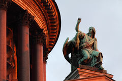 Evangelist John. Sculpture of Evangelist John with an eagle, on the Isaak cathedral, St Petersburg Stock Images