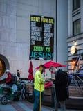 Evangelist in Westlake Park, Seattle Royalty Free Stock Images