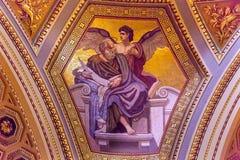Evangeliumförfattare Mosaic Saint Stephens Cathedral Budapest Hungary Arkivfoto