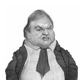Evangelos Venizelos Caricature Portrait Sketch. For editorial use Royalty Free Stock Photography